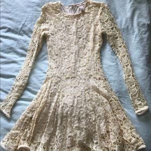 Cream-colored lace dress